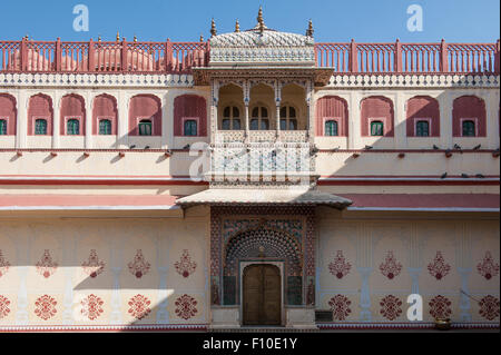 Jaipur, India. The  City Palace Pritam Niwas Chowk courtyard; detail of the Southwest Lotus gate, dedicated to Lord - Stock Photo
