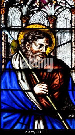 London, England, UK. Lincoln's Inn Chapel (1623) Stained glass window: St Matthew, apostle - Stock Photo