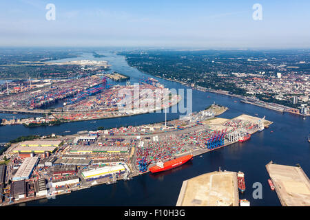 Aerial view of container terminals at the port of Hamburg - Stock Photo