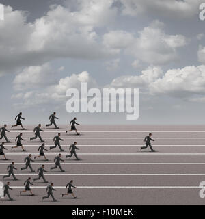 Winning the race business concept as a group of businesspeople running together with an individual businessman breaking - Stock Photo