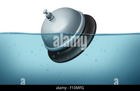 Service problem and bad customer help symbol as a service bell or servicebell symbol drowning in water as an icon - Stock Photo