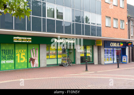 Paddy Power and Coral bookmakers next door to each other in the town centre in Bedford, Bedfordshire, England - Stock Photo