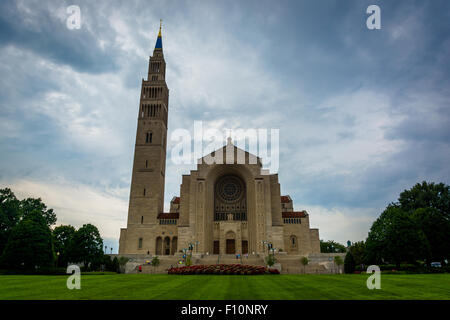 The Basilica of the National Shrine of the Immaculate Conception, in Washington, DC. - Stock Photo
