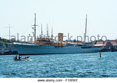 The Danish royal yacht, Dannebrog, at its anchoring in the port of Copenhagen - Stock Photo