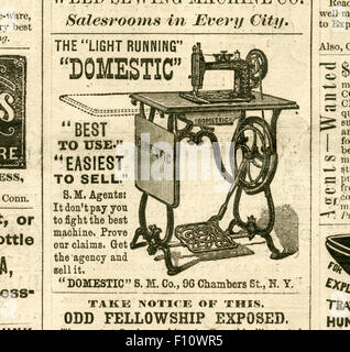 Antique 1872 engraving from Harper's Weekly, advertisement for The Light Running Domestic Sewing Machines. - Stock Photo