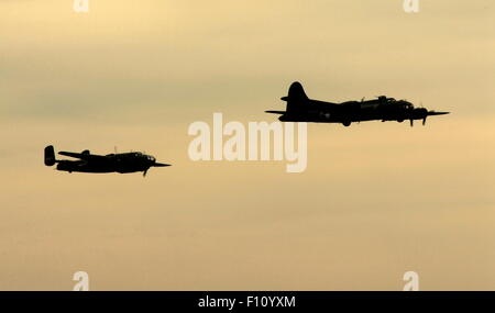 AJAXNETPHOTO. 2013. SHOREHAM, ENGLAND. - LAST OF THE B-17S - B-17 FLYING FORTRESS G-BEDF SALLY-B LEADS B-25 MEDIUM - Stock Photo