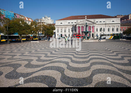 Dona Maria II National Theater on Rossio Square in Lisbon, Portugal. - Stock Photo