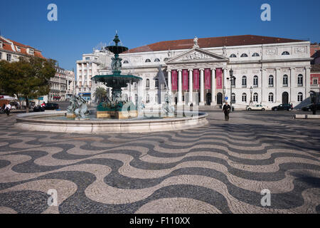 Portugal, Lisbon, Dona Maria II National Theater and Baroque fountain on Rossio Square - Stock Photo