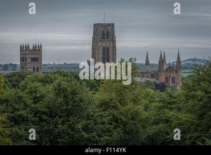 View of Durham Cathedral taken with a long lens from St Aidan's College (University of Durham) on the outskirts - Stock Photo