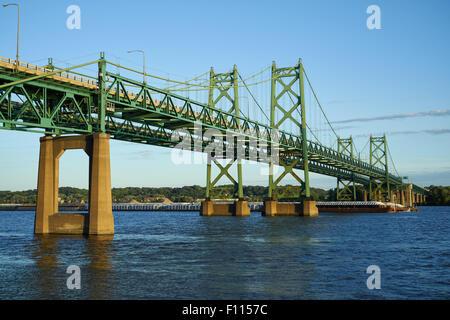 The I-74 Bridge connecting Iowa and Illinois - Stock Photo