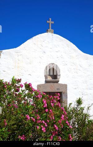 Small Church, Patmos, Dodecanese, Greek Islands, Greece, Europe - Stock Photo