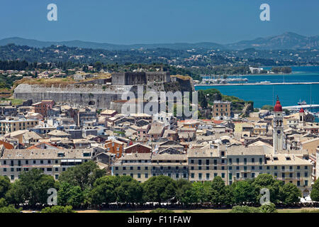 View from the old fortress to the historic centre, with new fortress, Corfu, Kerkyra, Unesco World Heritage Site - Stock Photo