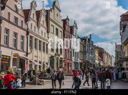 Pedestrian zone, city of Wismar, Mecklenburg-Western Pomerania, Germany - Stock Photo