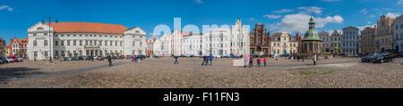 Panorama of the market square, Hanseatic City of Wismar, Mecklenburg-Western Pomerania, Germany - Stock Photo