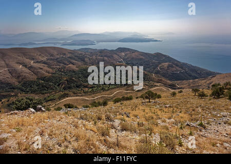 View of the island from the Mount Pantokrator, as far as Albania, Ionian Islands, Greece - Stock Photo
