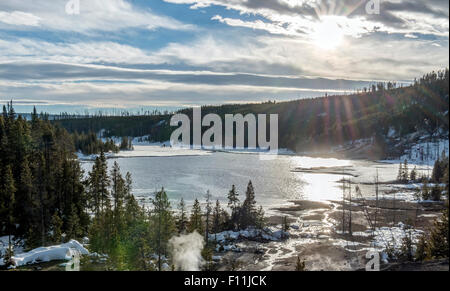 Aerial view of Yellowstone hot spring in winter, Wyoming, United States - Stock Photo