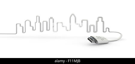 USB-city, 3D render of city skyline formed by USB cable - Stock Photo