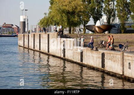 Anglers at the Kiel Fjord shore, Kiel, Schleswig-Holste - Stock Photo