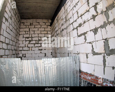 Interior of the premises during construction with wide angle fisheye lens and distortion view - Stock Photo