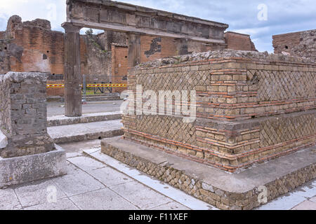 The Forum In The Ruined City Of Pompeii Campania Italy - Stock Photo