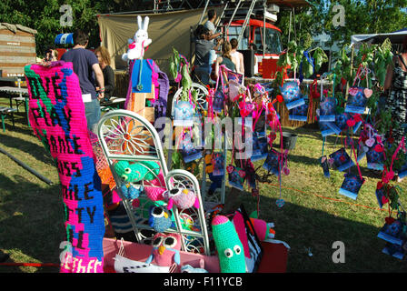 urban knitting at Solar, a a contemporary festival of performing arts in Roermond, Netherlands - Stock Photo