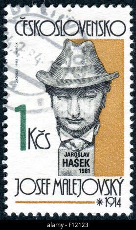 Postage stamp printed in Czechoslovakia, shows Czech writer Jaroslav Hasek, sculpture by Josef Malejovsky - Stock Photo