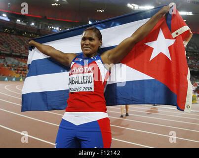 (150825) -- BEIJING, Aug. 25, 2015 (Xinhua) -- Cuba's Denia Caballero celebrates after the women's discus throw - Stock Photo