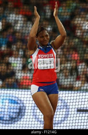 (150825) -- BEIJING, Aug. 25, 2015 (Xinhua) -- Cuba's Denia Caballero reacts during the women's discus throw final - Stock Photo