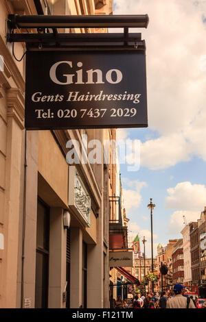 Gino Gents Hairdressing shop in Soho, London, England, UK - Stock Photo