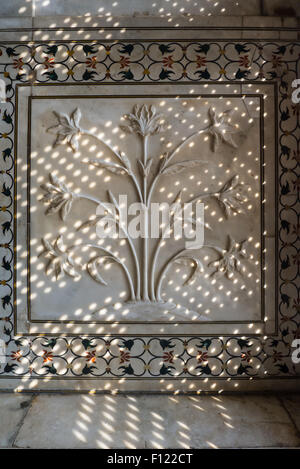 Agra, Uttar Pradesh, India. The Taj Mahal; detail of floral carving on a bas relief marble panel in dfappled light - Stock Photo