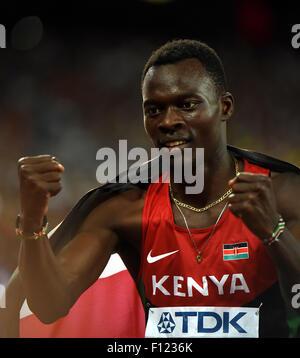 (150825) -- BEIJING, Aug. 25, 2015 (Xinhua) -- Kenya's Nicholas Bett celebrates winning the final of the men's 400m - Stock Photo