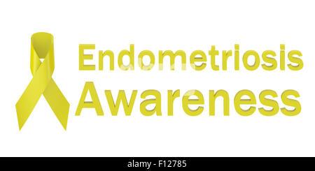 Yellow Ribbon Endometriosis Awareness isolated on white background - Stock Photo