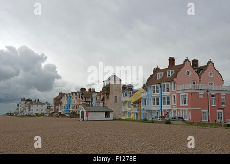 Aldeburgh beach south lookout Suffolk UK - Stock Photo