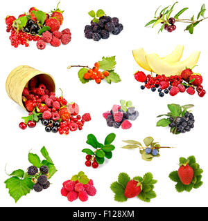 Berries and melon set - Stock Photo
