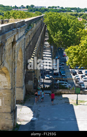 The Saint-Clement aqueduct, Montpellier, Herault, Languedoc-Roussillon, France - Stock Photo