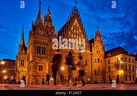night shot of historical City hall on Market Square or Ryneck of Wroclaw, Lower Silesia, Poland, Europe - Stock Photo