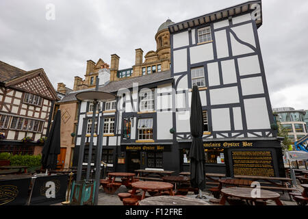 sinclairs oyster bar historic landmark building shambles square Manchester uk - Stock Photo