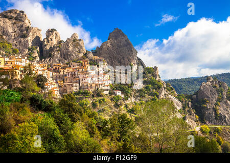 impressive village in rocky mountains Castelmezzano. Basilicata region, Italy - Stock Photo