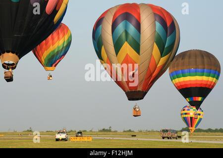 Hot air balloon landing during Sunrise Hot Air Balloon Race, Miami, Miami-Dade County, Florida, USA
