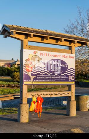 PFD loaner station, Comox Marina, Vancouver Island, British Columbia, Canada - Stock Photo