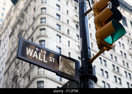 New York, USA. 25th Aug, 2015. A street sign for Wall Street is seen in Manhattan, New York City, the United States, - Stock Photo