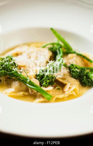 Italian sausage ravioli with sage and broccolini, Bella Vista Restaurant, Biltmore Hotel, Santa Barbara, California - Stock Photo