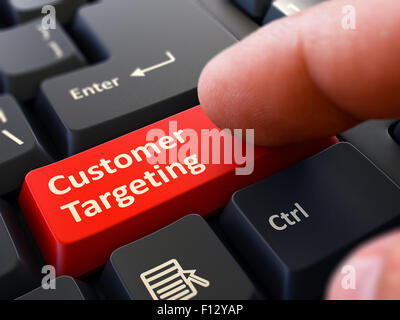 Finger Presses Red Keyboard Button Customer Targeting. - Stock Photo