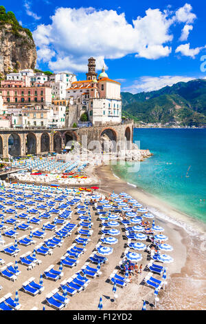 picturesque  Atrani village in amalfi coast of Italy - Stock Photo