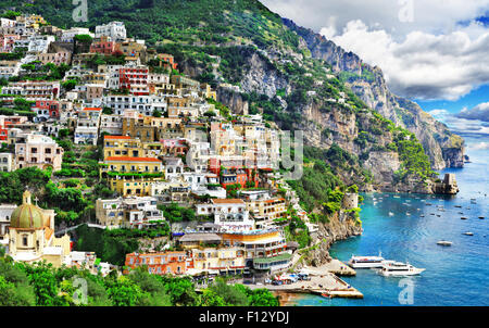 impressive Positano - Amalfi coast of Italy - Stock Photo