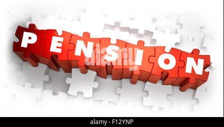 Pension - White Word on Red Puzzles. - Stock Photo