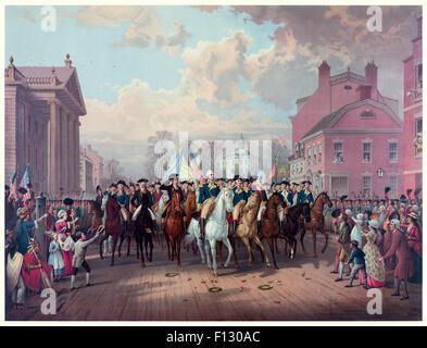 ' 'Evacuation Day' Washington's Triumphal Entry In New York City, Nov. 25th, 1783' by Edmund P. Restein (1837-1891). - Stock Photo