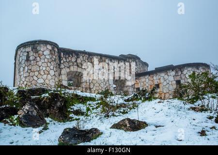 War destroyed building overlooking Sarajevo, Bosnia and Herzegovina - Stock Photo