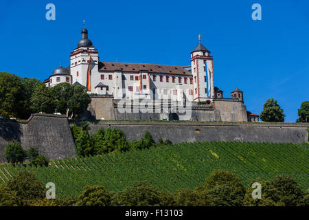Festung Marienberg Fortress, Main valley, Franconia, Bavaria, Germany - Stock Photo
