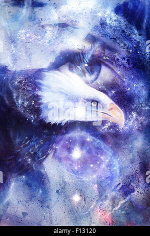 painting eagle with woman eye on abstract background and Yin Yang Symbol in space with stars. Wings to fly, USA - Stock Photo